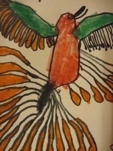 Child's drawing of Raven's Return by Kenojuak Ashevak, Cape Dorset, 2000
