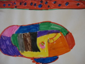 Child's drawing of Tiguaq by Ningeokuluk Teevee, Cape Dorset, 2017