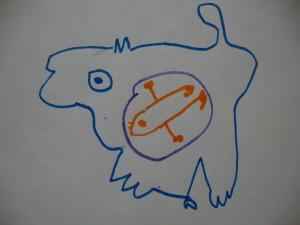 Child's drawing of Dog Dreams of Seal, Kingmeata Etidlooie, Cape Dorset, 1973